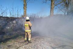 #57 25.04.2020r. Gardkowice - pożar suchej trawy i krzaków na poboczu drogi